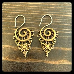 Brass earring ear weights boho tribal